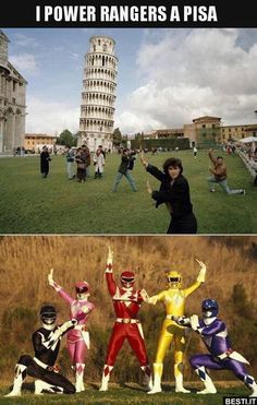 funny pic of people posing with leaning tower of pisa look like power rangers Stupid Funny Memes, Funny Relatable Memes, Haha Funny, Hilarious, Fun Funny, Power Rangers Memes, Go Go Power Rangers, Best Funny Pictures, Funny Photos