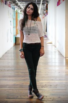 Dark green skinnies, leather ankle boots, fedora  crochet top. Love the crystal pendant.  Edgy boho threads for fall.