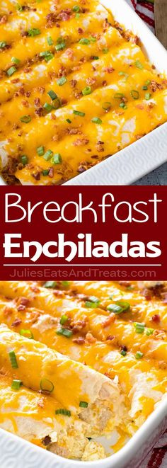 Overnight Breakfast Enchiladas ~ Tortillas stuffed with Sausage, Eggs,Cheese and Bacon! This is the Perfect Overnight Breakfast Casserole Recipe! via @julieseats Savory Breakfast, Breakfast Casserole With Bread, Recipes With Breakfast Sausage Dinner, Sausage Egg Casserole, Breakfast Tortilla, Breakfast Food Recipes, Overnight Egg Casserole, Breakfast Quesadilla, Breakfast Burritos