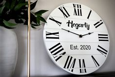 Personalized Modern Farmhouse White Shiplap Wooden Wall Clock with Black Roman Numerals Handmade Clocks, White Shiplap, Wood Clocks, Roman Numerals, Wooden Walls, Modern Farmhouse, Workshop, Free Shipping, Wood Walls