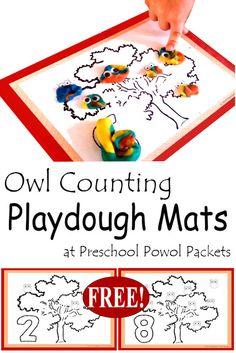 {FREE} Owl Counting Playdough Mats | Preschool Powol Packets