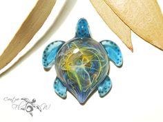 Ocean Bliss Turtle Pendant  Glass Pendant  by CreativeFlowGlass