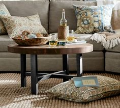 Vintage French Soul ~ Love how the Pottery Barn Griffin Round Coffee Table can easily glide between design styles . looks so good in this classic aesthetic with a global twist! Coffee Table Pottery Barn, Round Wood Coffee Table, Reclaimed Wood Coffee Table, Small Coffee Table, Wood End Tables, Wood Table, My Living Room, Living Room Furniture, Living Room Decor