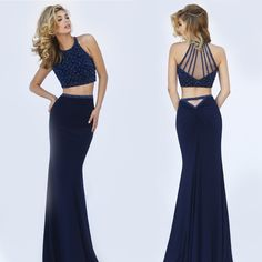 Navy Blue Two Piece Beaded Illusion Top Dress by Sherri Hill