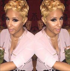Blonde Pixie, Blonde Hair, African American Braids, African American Makeup, African American Hairstyles, Short Curly Hair, Short Hair Cuts, Curly Hair Styles, Natural Hair Styles