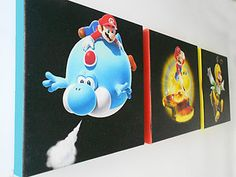 Super Mario Yoshi Galaxy Disney Canvas Pictures Set 3 Wall Art Children Room | eBay