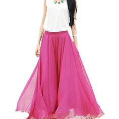Museya Fashion Bohemian Style Frühling Sommer Womens elastische Taille Band Chiffon lange Maxi Rock Kleid - Größe L (rosarot) Museya http://www.amazon.de/dp/B00LM2FR30/ref=cm_sw_r_pi_dp_t0l9ub1T0YQTX