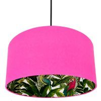 TROPICAL PRINT AND NEON PINK SILHOUETTE LAMPSHADE  This beautiful silhouette lampshade is made using this gorgeous tropical print wallpaper on the inside and a hot neon pink cotton on the outside of the lampshade. Allowing the print on the inside of the shade to appear once the light is turned on.