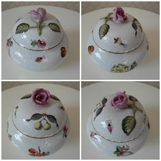 #MidCentury #Herend #Hungary #Bonbonniere (rose knob) The bonbonniere was made at the Herend Porcelain Manufactory (certified by Herend) Name: Bonbonniere, rose knob Form number: 6090. Since 1997: 6091-0-09 Pattern: FRN (Fruits Necker) Production date: 1950s-1960s Diameter : 12 cm Height : 11 cm bonboniere