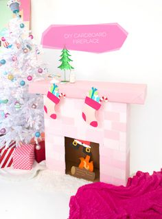 DIY Cardboard Box Fireplace | damask love