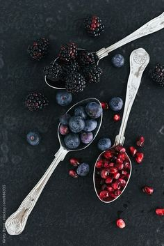 Blackberries, Blueberries and Pomegranate Seeds by Kirsty Begg | Stocksy United stocksy.com