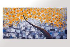 Yellow flower tree canvas painting