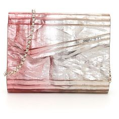 Crinkled Lamé Ombre Candy Clutch ($608) ❤ liked on Polyvore featuring bags, handbags, clutches, womenbagsclutches, ombre purse, jimmy choo purses, ombre handbags, pink clutches and heart handbag