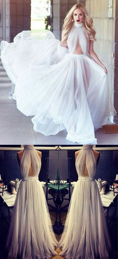 new Prom Dresses Tulle High Neck Sleeveless Elegant Sexy Floor Length Sheer White Party Gowns