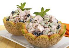 recipe for Cantaloupe with Chicken Salad recipe, For a refreshing fruity summery chicken salad, try this delightful recipe. Cantaloupe Recipes, Radish Recipes, Chicken Salad Ingredients, Chicken Salad Recipes, Salad Chicken, Frangipane Recipes, Mulberry Recipes, Recipes, Thermomix
