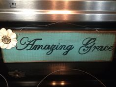 Amazing Grace Wooden painted sign