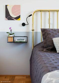 39-decoracao-quarto-pequeno-cabeceira-ferro-dourada-parede-cinza