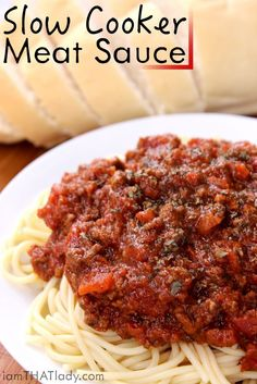 Looking for an easy sauce recipe that you can set and forget that the kids will LOVE? This Slow Cooker Meat Sauce is so flavorful and hearty, no one will believe it only took you 5 minutes to throw together!