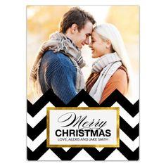 Modern Chevron Christmas Photo Cards