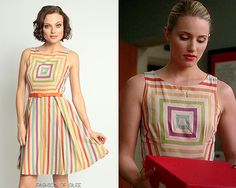 Eva Franco Alma Dress in Carnival Stripe - loved this dress on Quinn in the Glee finale Glee Fashion, 1960s Fashion, Vintage Fashion, Quinn Fabray, Sophisticated Outfits, New Outfits, Pretty Outfits, Dress Collection, Striped Dress