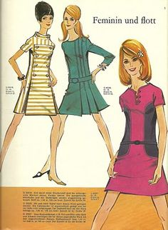 Illustrations feminine dresses from a vintage 60s German sewing pattern magazine.