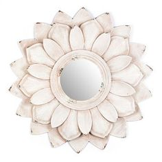 We are in LOVE with our Lucy Flower Petal Wall Mirror! The unique design and distressed cream finish make it unforgettable. #kirklands #classic