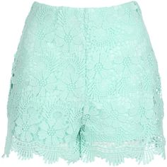 Jane Norman Crochet Shorts ($26) ❤ liked on Polyvore featuring shorts, bottoms, pants, short, spearmint, jane norman, scalloped crochet shorts, scalloped shorts, scallop hem shorts and short shorts