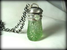 Statement Necklace,  Roman glass, silver and gemstone pendant , sterling and roman glass necklace