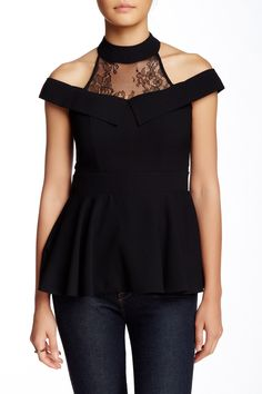 Open Shoulder Lace Trimmed Blouse by Gracia on @nordstrom_rack