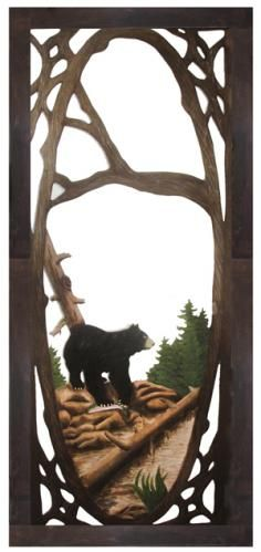 Personalize your cabin, lodge or home with a unique carved screen door. This scene features a black bear with a freshly caught trout. The carved detail is accented with hand painting. Many wildlife scenes are available. Painted Interior Doors, Painted Doors, Rustic Doors, Wood Doors, Black Bear Decor, Cabin Doors, Log Furniture, Unique Doors, Lodge Decor