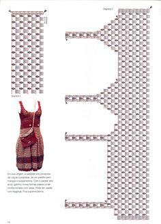 Este esquema ensina a fazer outros vestidos, observando a contagem e maneira de confeccionar o busto. Parti...