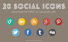 Flat Circular Social Icons Pack with Long Shadow Effect free for personal and commercial use