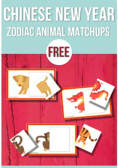 Free: Chinese New Year Zodiac Animal Halves - Preschool Activities Nook Chinese New Year Outfit, Chinese New Year Wishes, Chinese New Year Zodiac, Chinese New Year Crafts For Kids, Chinese New Year Activities, Chinese New Year Food, New Years Activities, Chinese New Year 2020, Preschool Themes