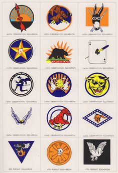 Proving you get your inspiration from anywhere, this is just one set of US Army Air Force squadron logos from a brilliant piece by Steven Heller for Print