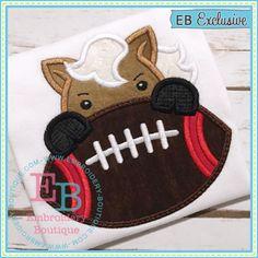 Football Mustang Boy Applique