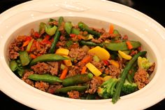 Low-carb ground beef stir fry.    Recipe video:  http://youtu.be/tfzdZm-6Q-I
