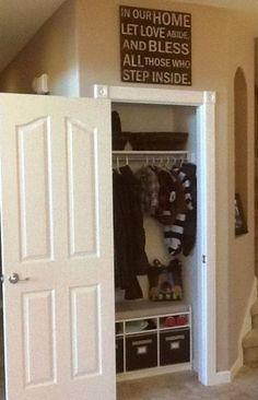 Ideas For Hallway Closet Organization Ideas Benches Cupboard Doors Makeover, Hall Cupboard, Cupboard Storage, Door Makeover, Hall Closet Organization, Closet Storage, Bedroom Storage, Organization Ideas, Storage Ideas