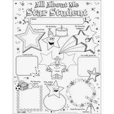Ready-To-Decorate® All About Me Star Student Posters Preschool Welcome Letter, Welcome Letters, All About Me Printable, All About Me Worksheet, All About Me Poster, Student Of The Week, All About Me Preschool, Star Of The Week, Star Students
