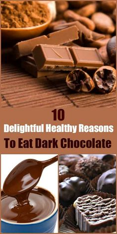 10 delightful healthy reasons to eat dark chocolate. Find out why you should be induldging in dark chocolate and the healthy benefits. Natural Herbs, Natural Health, Healthy Tips, How To Stay Healthy, Healthy Habits, Healthy Recipes, Healthy Desserts, Healthy Weight, Healthy Food