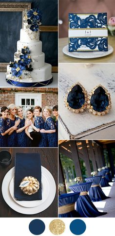Classic navy blue and gold wedding color ideas with matching wedding invitations