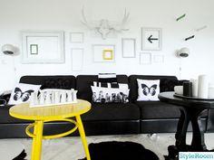 svart,vitt,tavelvägg,ramar,arrow,bookrest,klotlampa,soffa,älghorn