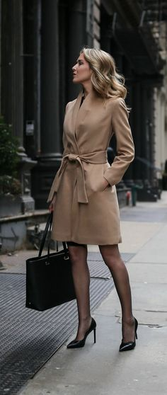 Camel tie waist classic wool coat, black stockings and pointed toe pumps. Beauty on High Heels #Fashion