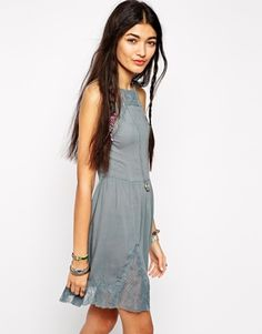 Free People Slip Dress with Lace Detail