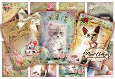 Sweet Cats -Scrapbook Paper Craft Card Tags Instant Digital Collage Sheet Designed Gift Tags and by PrintCollage Scrapbook Paper Crafts, Scrapbook Pages, Scrapbooking, Card Tags, Gift Tags, Cards, Arts And Crafts Projects, Esty, Printable Paper