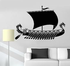 Vinyl Decal Viking Ship Scandinavian Children's Rooms Wall Stickers 049ig *** Discover this special product, click the image (This is an amazon affiliate link. I may earn commission from it)