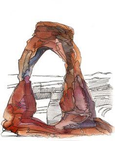 Items similar to Delicate Arch Utah watercolor National Park fine art print, desert, home decor kat ryalls on Etsy Pen And Watercolor, Watercolor Landscape, Watercolor Paintings, Tree Paintings, Pastel Paintings, Art Inspo, Delicate Arch, Desert Art, Art Sketchbook