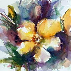 ~ Yellow flower ~ Watercolors on paper. 2017 ##dailypainting Today's momentary inspiration... ##watercolor ##watercolorpainting ##colors ##art ##pain... - Mikko Tyllinen - Google+