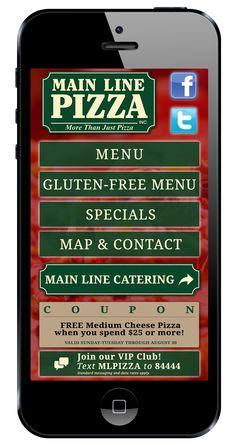 Mobile website for Main Line Pizza