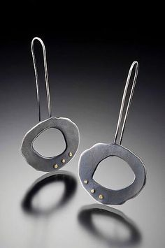 Rough-Cut Long Wire Earrings: Lisa Crowder: Gold  Silver Earrings - Artful Home