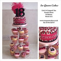 Pink leopard print cupcake tower with diamanté's